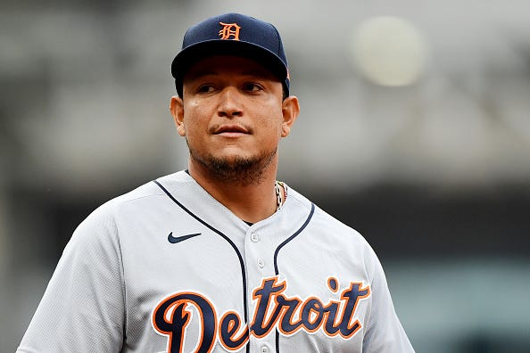 Miguel Cabrerea looks on during a Tigers game.