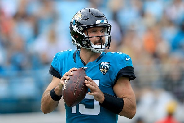 Gardner Minshew looks to make a throw for the Jaguars.