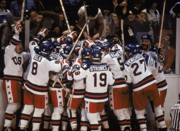 USA celebrates defeating the Soviets at the 1980 Winter Olympics.