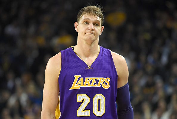 Timofey Mozgov walks down the court during a game with the Lakers.