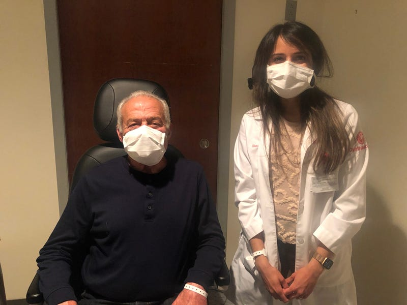 Anthony Manchio with one of his Wills Eye Hospital physicians, glaucoma surgeon AaKriti Garg Shukla, M.D.