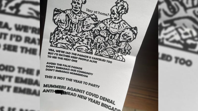 A flier distributed in South Philadelphia urged people not to participate in protests or demonstrations against the cancellation of the Mummers Day Parade.