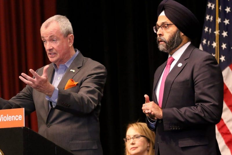 Gov. Phil Murphy and Attorney General Gurbir Grewal are shown in Jersey City.