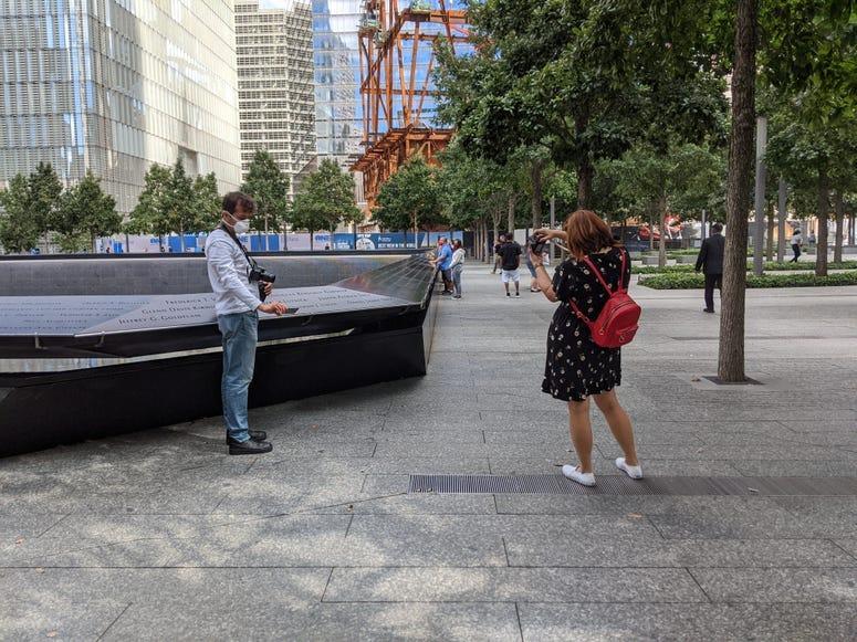 Visitors at the 9/11 Memorial on Saturday