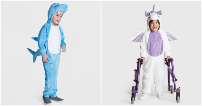 The plush shark and unicorn costumes are designed for kids with sensory sensitivities.