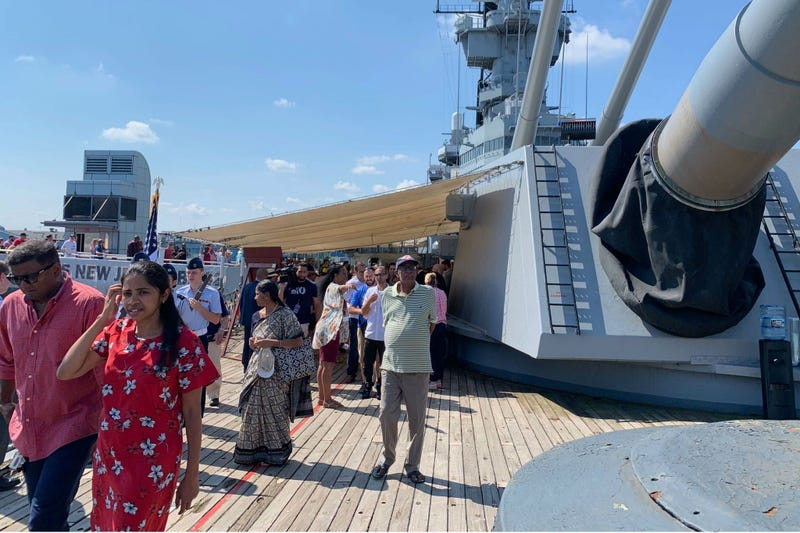 40 prospective citizens board the Battleship New Jersey for a Fourth of July naturalization ceremony.