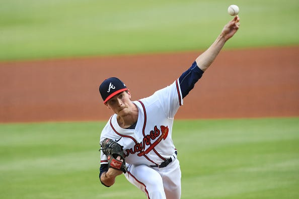 Max Fried fires away during a game for the Braves.