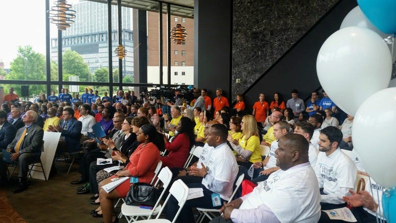 Dozens of corporate, civic, and political leaders gathered at the U.S. Steel Building to take the Father's Day Pledge to end gender violence.