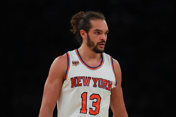 Joakim Noah looks on in between possession during a Knicks game.
