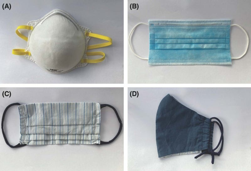The Toscanos used four different masks in their study: (a) an N95 masks, (b) a surgical mask, and (c-d) two homemade cloth masks.