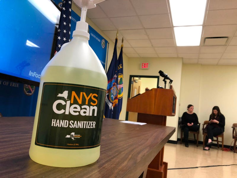 NYS Clean sanitizer for local governments to combat coronavirus pandemic. March 16, 2020 (WBEN Photo/Mike Baggerman)