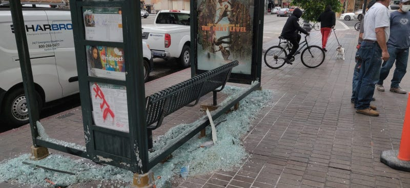 Smashed glass seen in Downtown Oakland following Friday's protest.