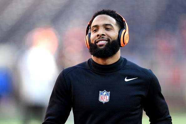 Browns WR Odell Beckham Jr. is all smiles during warmups before a game.