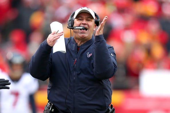 Texans coach Bill O'Brien calls a timeout.