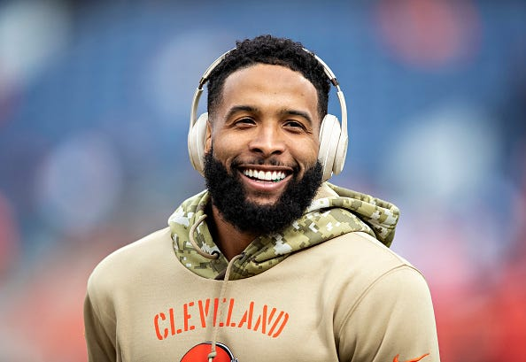 Odell Beckham Jr. smiles before a game against the Broncos.