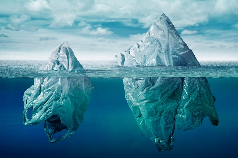 Ocean with Plastic Burgs