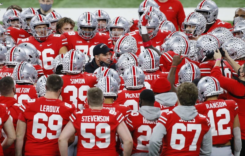Ohio State Buckeyes head coach Ryan Day fires up his team during warm-ups prior to the Big Ten Championship football game against the Northwestern Wildcats at Lucas Oil Stadium in Indianapolis on Saturday, Dec. 19, 2020.