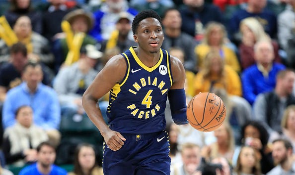 Victor Oladipo brings the ball up for the Indiana Pacers.