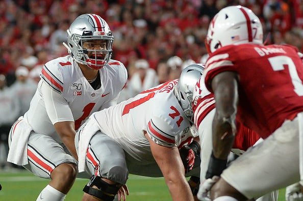 Ohio State QB Justin Fields commands the offense against Nebraska.