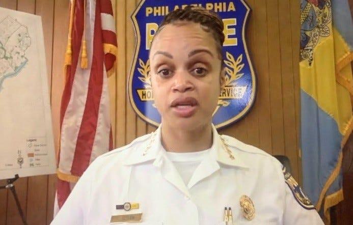 Philadelphia Police Commissioner Danielle Outlaw speaks via Zoom.