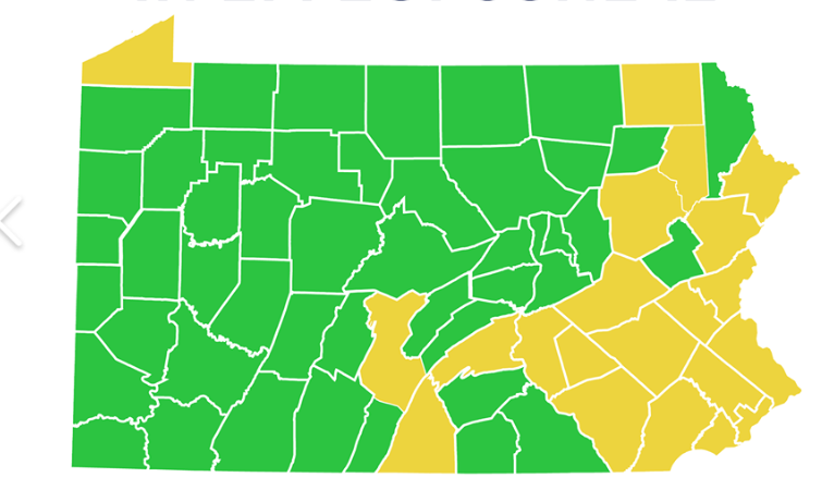 PA Green coronavirus Map June 12