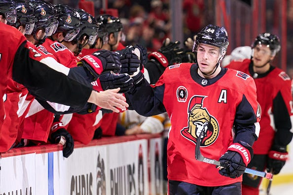 John Gabriel Pageau celebrates a goal with the Senators.