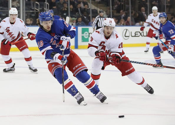 Artemi Panarin chases down the puck for the Rangers.