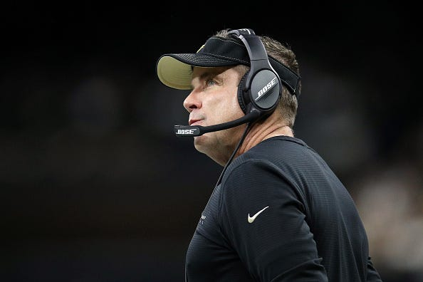 Sean Payton looks on from the Saints sideline.