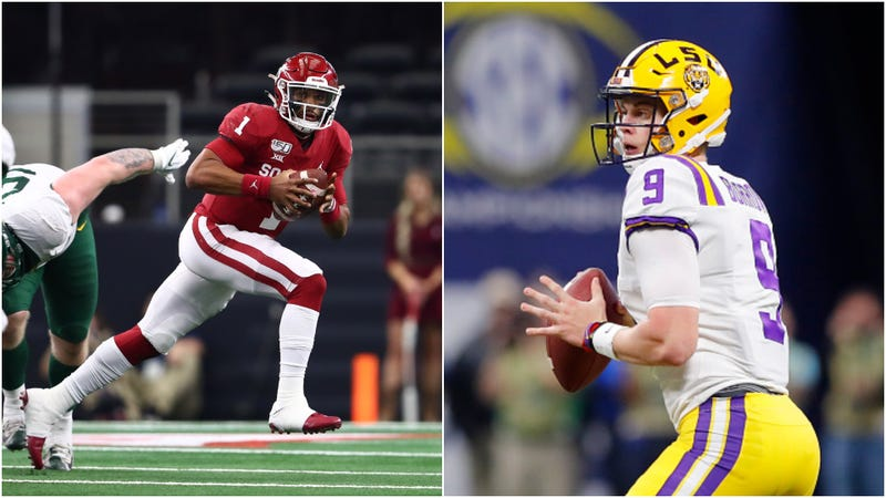 Jalen Hurts (l.) evades a tackle while Joe Burrow (r.) looks for a receiver.
