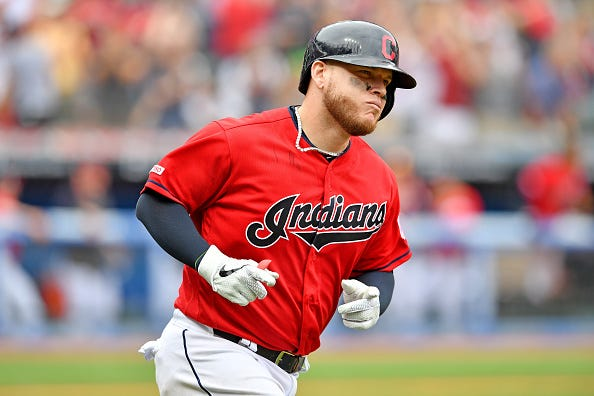 Roberto Perez rounds the bases with the Indians.