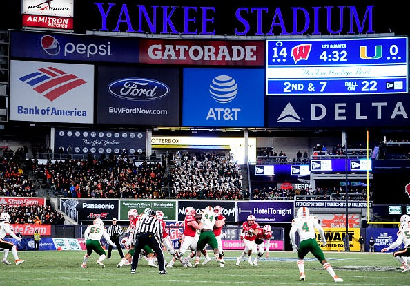 Miami and Wisconsin play in the 2018 Pinstripe Bowl.