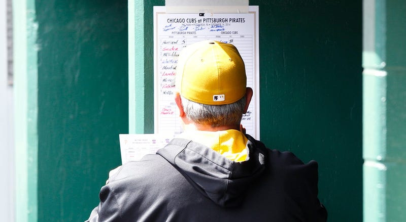 Pirates Manager Clint Hurdle Reviews Team Lineup Before A Game