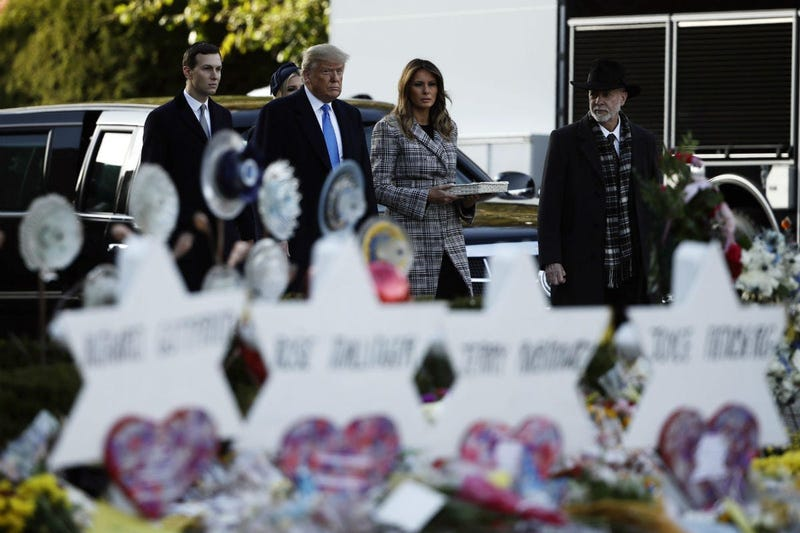 President Donald Trump, first lady Melania Trump, Ivanka Trump and Jared Kushner visit a memorial outside Pittsburgh's Tree of Life Synagogue in Pittsburgh, Tuesday, Oct. 30, 2018.