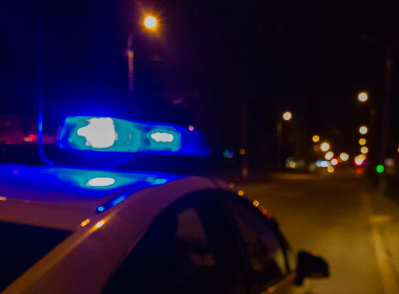 Lights of police car in night time