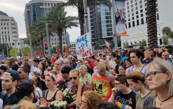 A sea of people attend a memorial service in the days following the Pulse nightclub shooting, five years ago.