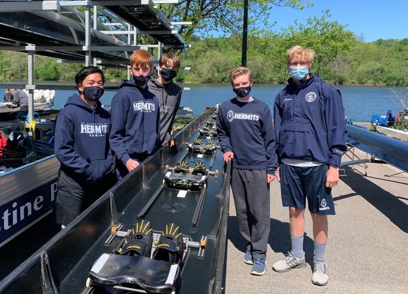 The St. Augustine Prep Hermits prepare to compete in the Philadelphia Scholastic Rowing Association City Championship regatta.
