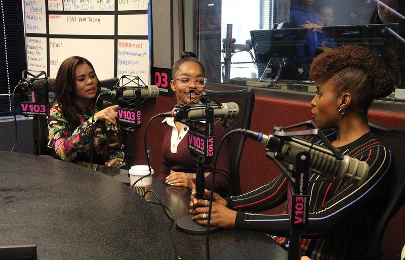 "The cast and director of ""Little,"" including Regina Hall, Marsai Martin and Issa Rae visit V-103's The Morning Culture with Frank Ski, Jade Novah & JR"