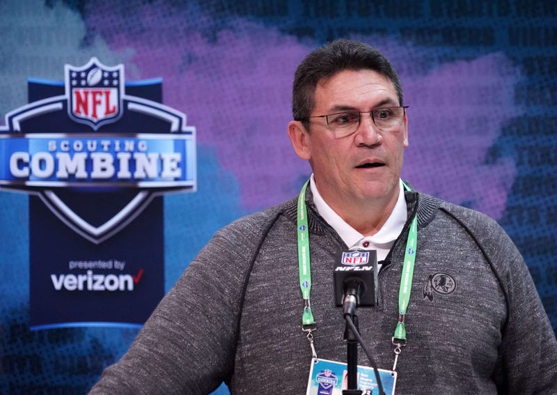 Redskins head coach Ron Rivera speaks to reporters at the NFL Combine.