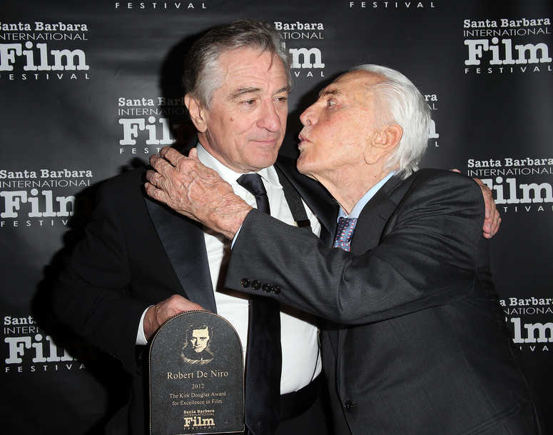 Robert De Niro (L) and Kirk Douglas attend the SBIFF's 2012 Kirk Douglas Award For Excellence In Film during the Santa Barbara Film Festival on December 8, 2012 in Goleta, California