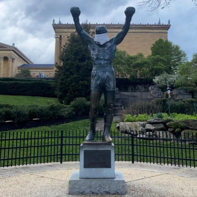 Rocky Statue In Philadelphia Has Mask Put On