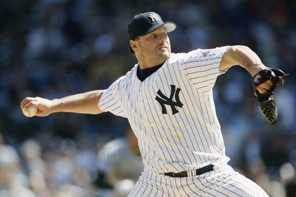 Roger Clemens pitches for the Yankees