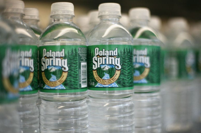 All still Poland Spring water under one gallon will be sold in recycled plastic bottles by 2022.