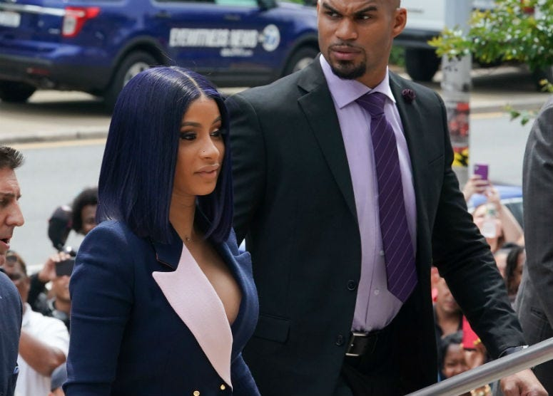 Grammy-winning rapper Cardi B arrives for her arraignment in Queens, New York, on June 25, 2019.