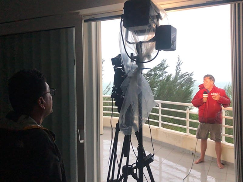 CNN producer Jaide Timm- Garcia and photojournalist Jose Armijo set up for a liveshot from the hard hit town of High Rock in Grand Bahama Island.