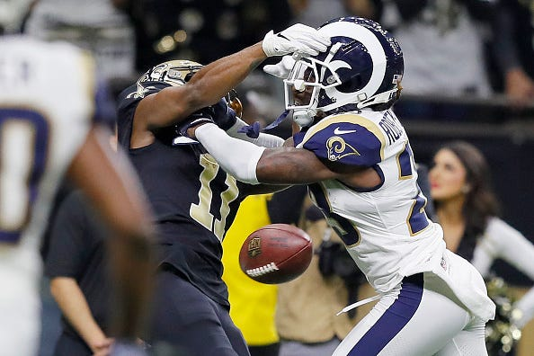 Tommylee Lewis of the Saints can't make the catch as pass interference is not called.