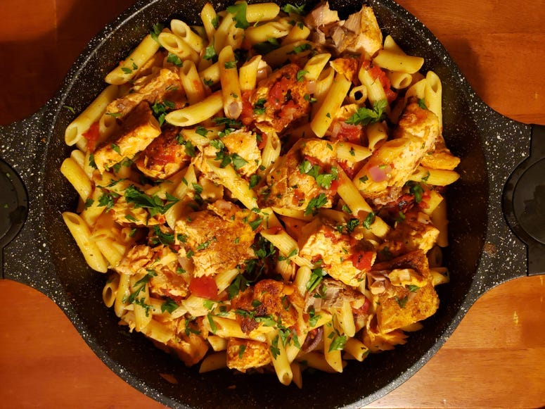 Grilled Salmon Penne Pasta