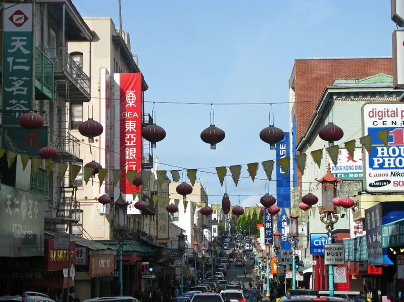 A busy street in Chinatown in San Francisco.