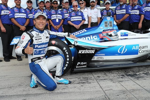 Rahal Letterman Lanigan Racing's Takuma Sato Celebrates Winning The NTT P1 Pole Award For Saturday Night's NTT IndyCar Series Race At Texas Motor Speedway