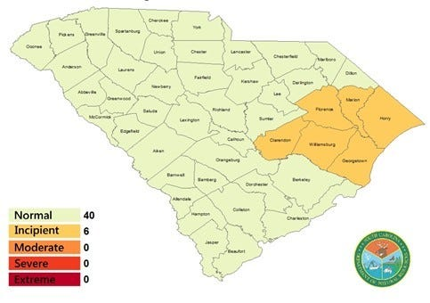 South Carolina Drought Map