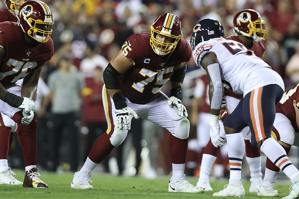 Redskins G Brandon Scherff glances across the line of scrimmage.